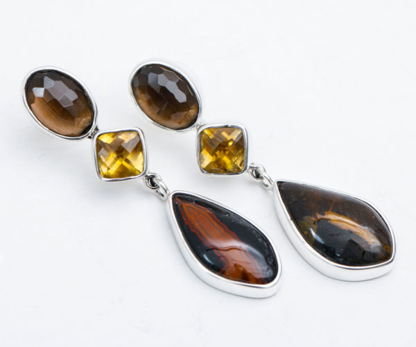 Multi Semi Precious Stone - Post Earrings in Sterling Silver 925 Agot