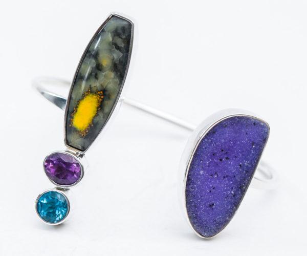Semi Precious Stone Cuff Bracelet in Sterling Silver 925 Agot