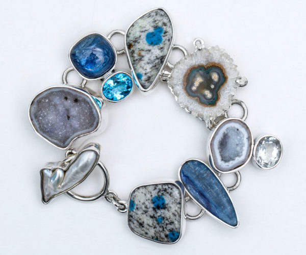 Semi Precious Stone Link Bracelet in Sterling Silver 925 Agot