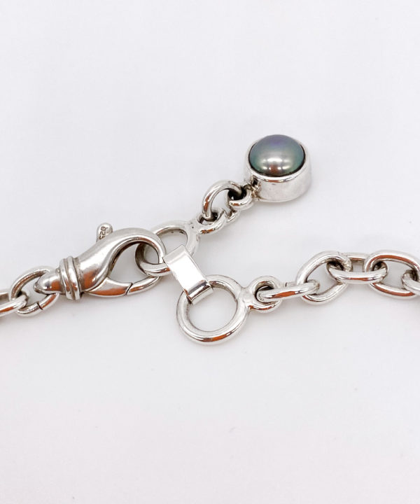 Free Form Bronze Pearl & River Rock Chain Link Necklace in Sterling Silver 925