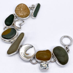 Costa Rican River Rock & Quartz Link Bracelet in Sterling Silver 925