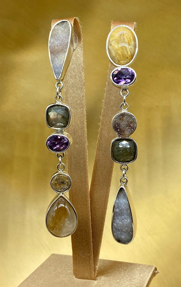 Multi Semi Precious Stone Earrings in Sterling Silver 925