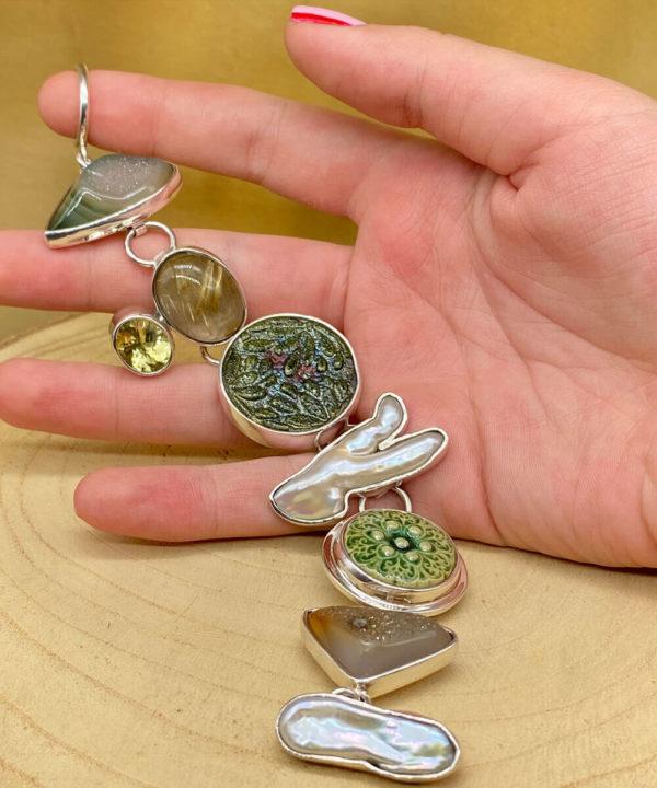 Semi Precious Stone Link Bracelet in Sterling Silver 925
