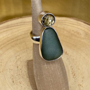 Semi Precious Stone & River Rock Ring in Sterling Silver