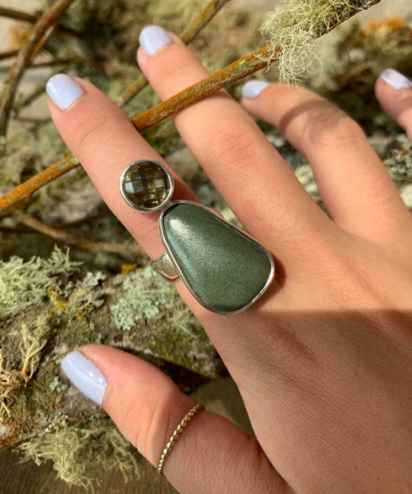 Semi Precious Stone & River Rock Ring in Sterling Silver