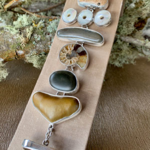 Costa Rican River Rock & Mother Pearl Link Bracelet in Sterling Silver 925