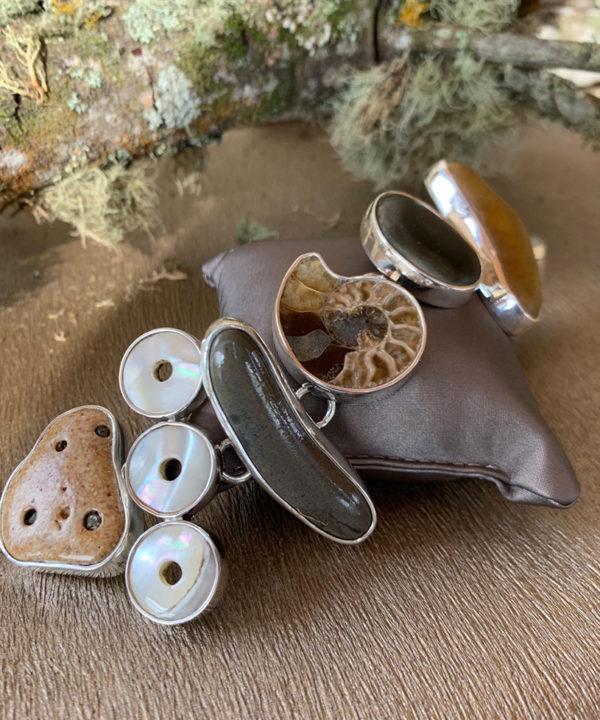 Costa Rican River Rock & Mother Pearl Link Bracelet in Sterling Silver 925