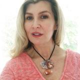 Karen Wehman wearing Agot necklace designed by costarrican designer, Adrina Gomez