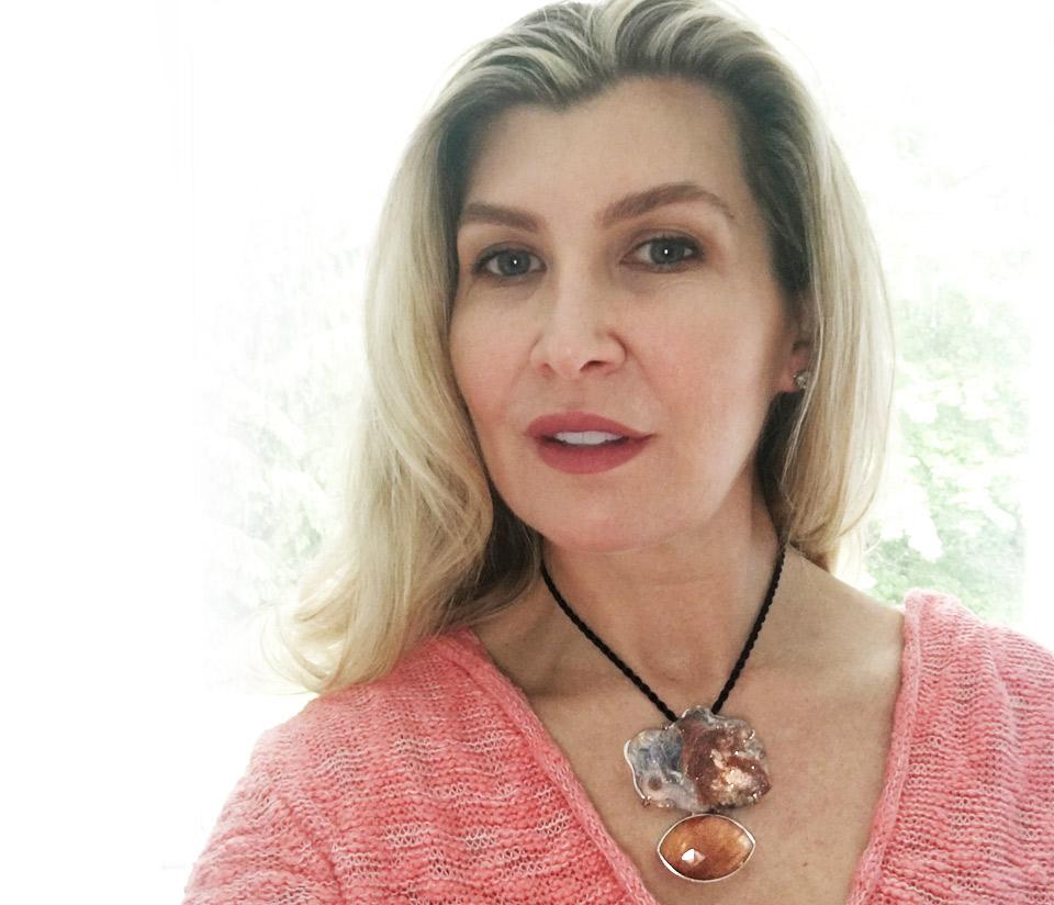 Mrs. Karen Wehman wearing Agot necklace designed by costarrican designer, Adrina Gomez